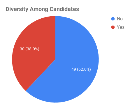 A pie chart showing that there were 30 candidates who identified as being diverse (38 percent) versus 49 who did not (62 percent).